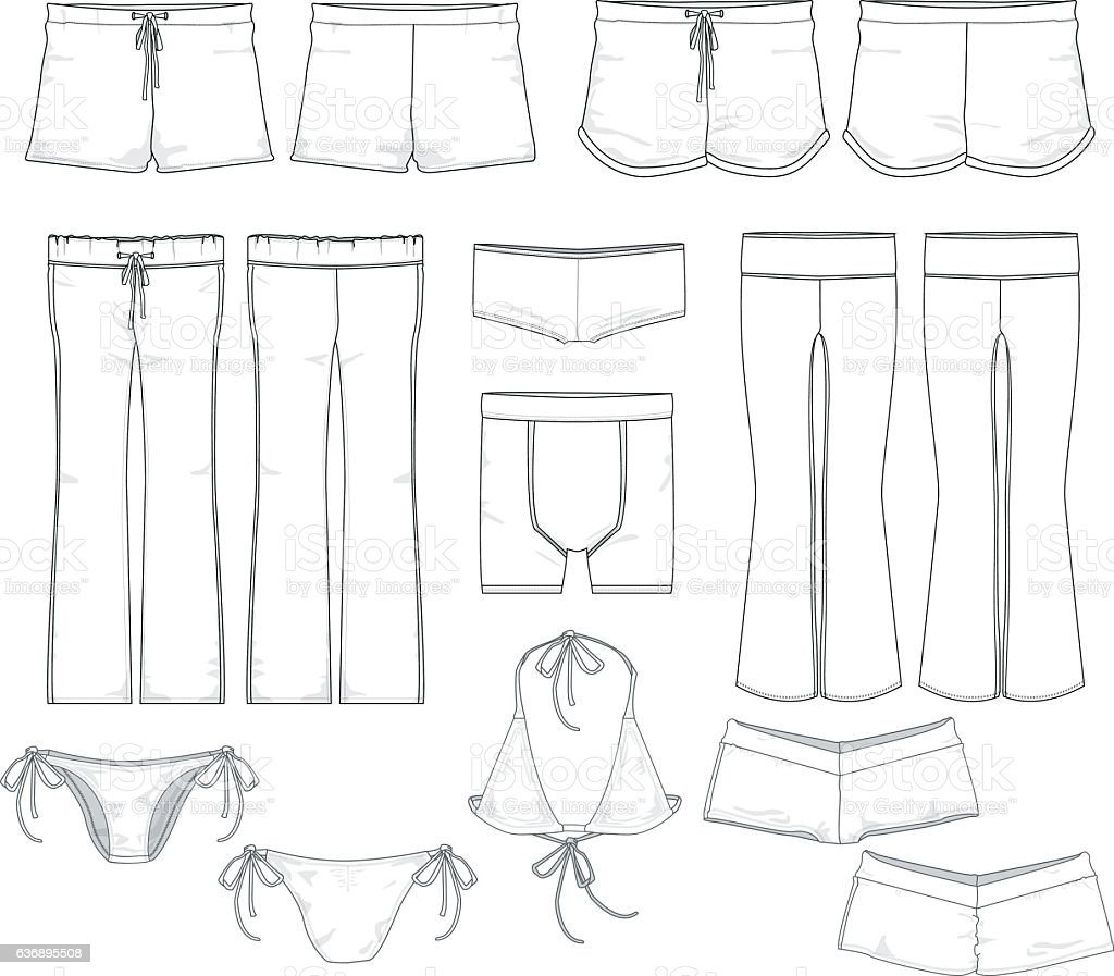 Various vector clothing templates vector art illustration