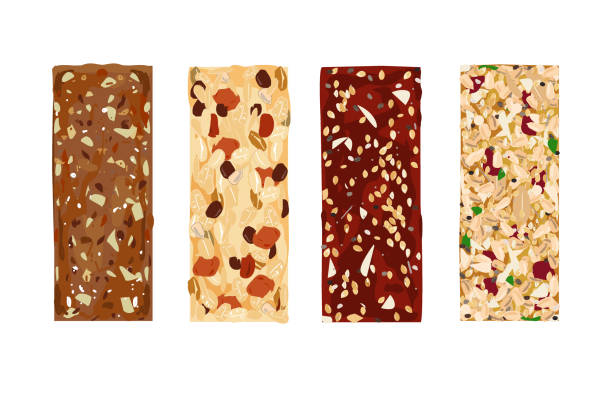 ilustrações de stock, clip art, desenhos animados e ícones de various vector granola bars isolated on white background. healthy gluten-free and lactosa free snacks. energy bars vector - muesli