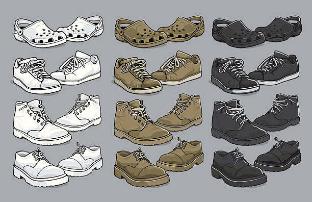 Various vector men's shoes vector illustration of four various styles of men's shoes - croc sandles, tennis - running shoes, work boots, and business-casual in white, tan and black versions. Each shoe has been grouped for easy editing. crocodile stock illustrations