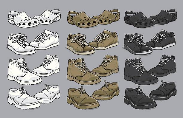 various vector men's shoes - crocodile stock illustrations