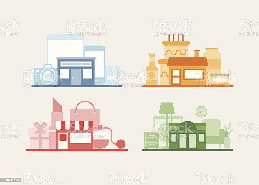 Various vector store design collection royalty-free stock vector art