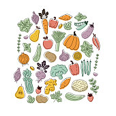 Various vegetables collection. Linear graphic. Scandinavian minimalist style. Healthy food design. Vector illustration