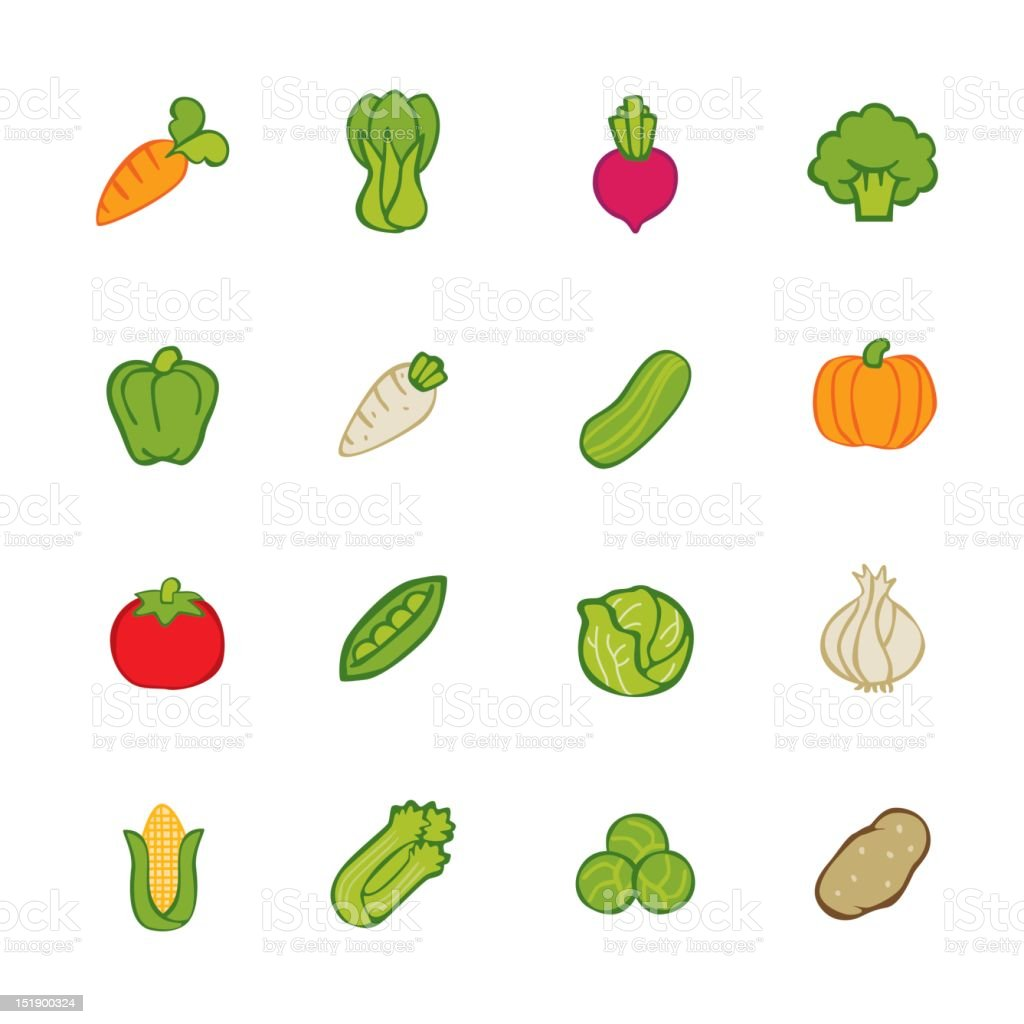 Various vegetables grocery icon vector art illustration