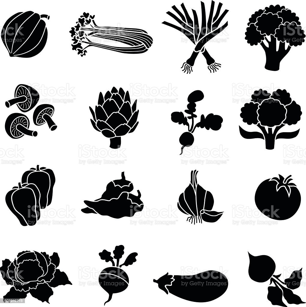 various vegetables in black and white vector art illustration