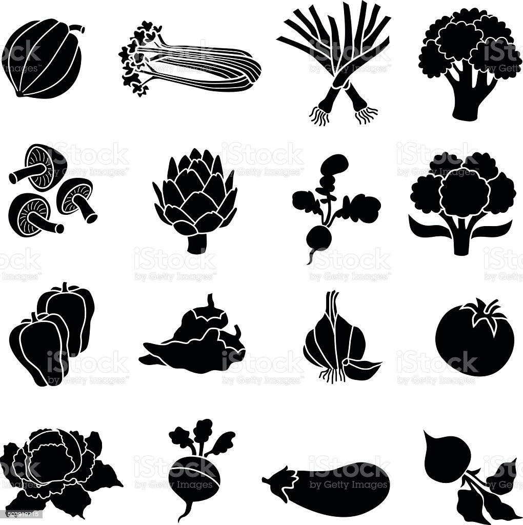 Divers légumes en noir et blanc - Illustration vectorielle