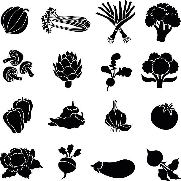 various vegetables in black and white A vector illustration of various vegetables in black and white: acorn squash, celery, leeks, broccoli, mushrooms, artichoke, radish, cauliflower, bell pepper, chili pepper, garlic, tomato, cabbage, turnip, eggplant, beet artichoke stock illustrations
