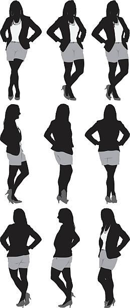 illustrazioni stock, clip art, cartoni animati e icone di tendenza di varie viste di donna in carriera - ritratto 360 gradi