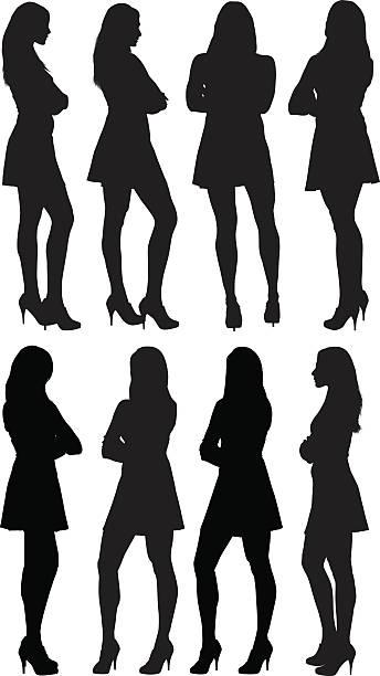 illustrazioni stock, clip art, cartoni animati e icone di tendenza di varie viste di casual da donna - ritratto 360 gradi
