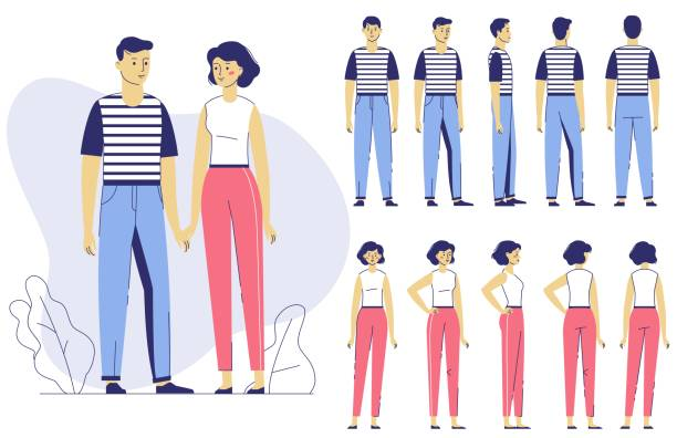 Various views of male and female characters set. Front, side, back view of young man and woman. Flat vector illustration in line art style isolated on white background. young couple stock illustrations