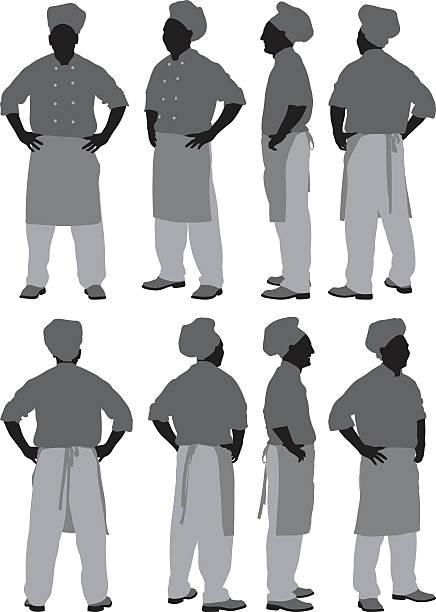 illustrazioni stock, clip art, cartoni animati e icone di tendenza di vari vista del maschio chef - ritratto 360 gradi
