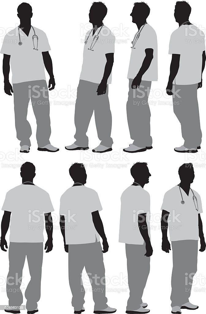 Différentes vues d'Infirmier - clipart vectoriel de Adulte libre de droits
