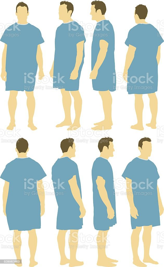Various Views Of Man In Hospital Gown Stock Vector Art & More Images ...