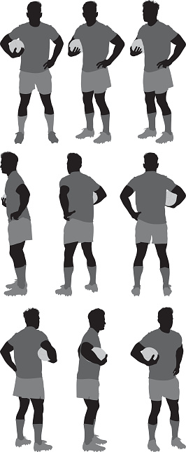 Various views of rugby player