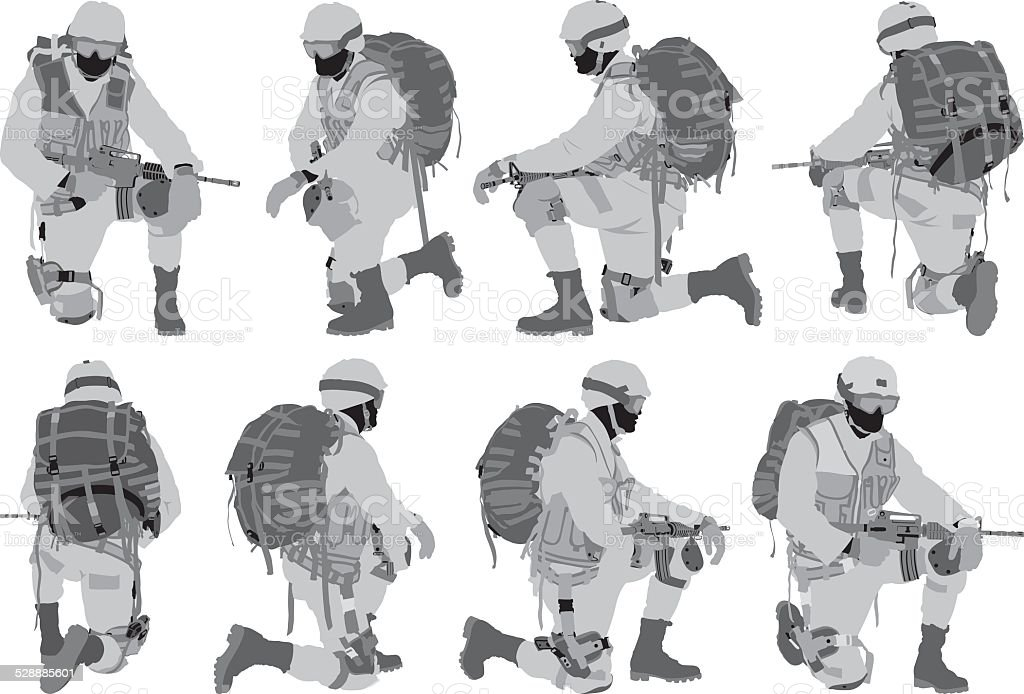 Various views of soldier vector art illustration
