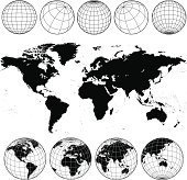Vector world map and globes in black and white.
