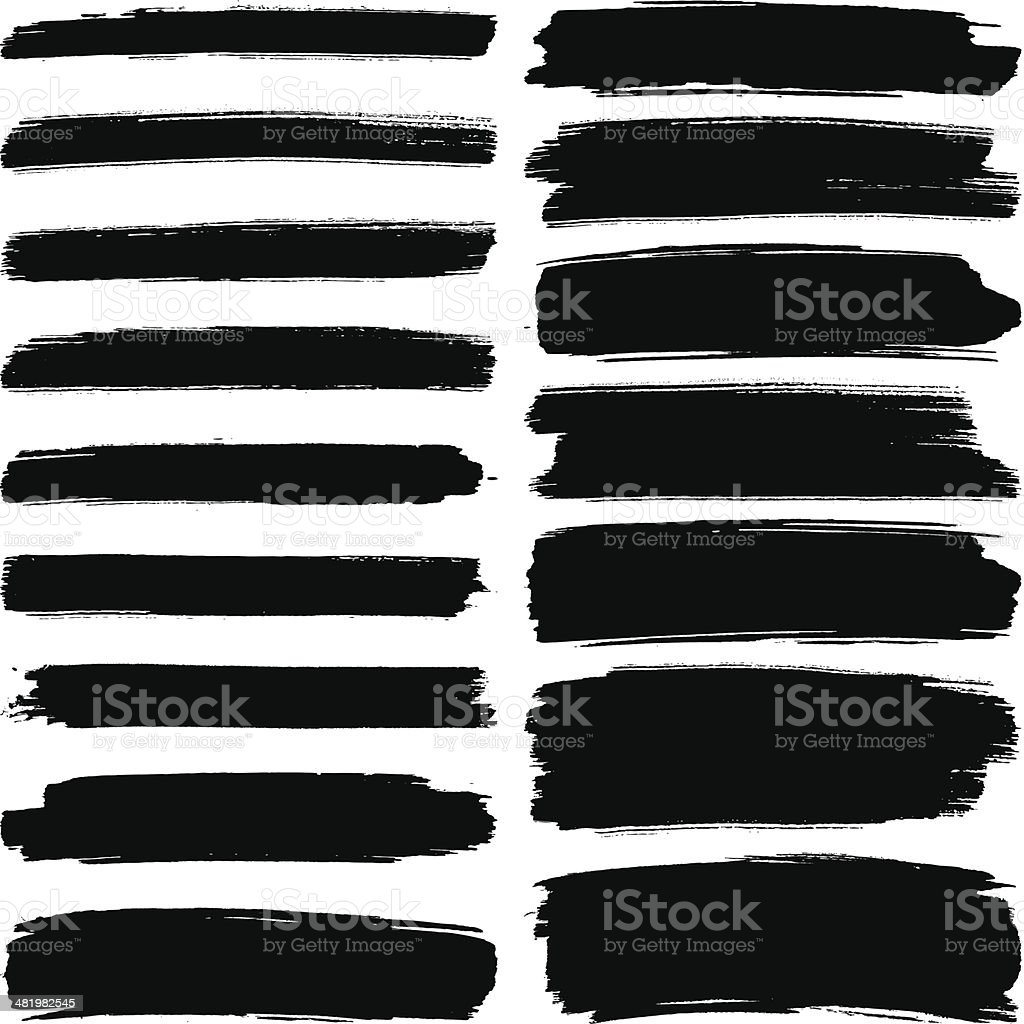 Various width brush strokes Various width black brush marks on a white background Abstract stock vector