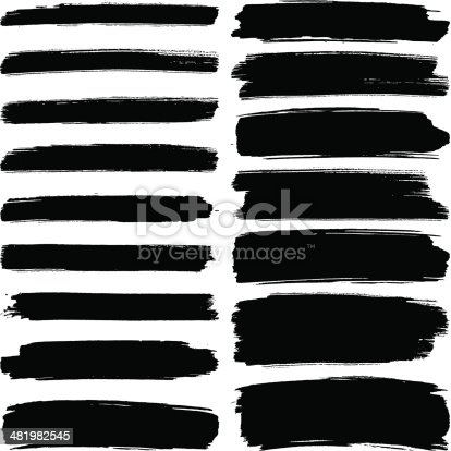 Various width black brush marks on a white background