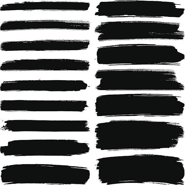 Various width brush strokes Various width black brush marks on a white background paintbrush stock illustrations