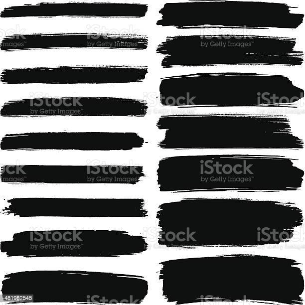 Various Width Brush Strokes Stock Illustration - Download Image Now