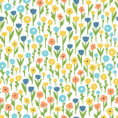 Various wildflowers. Seamless vector pattern with abstract flowers.