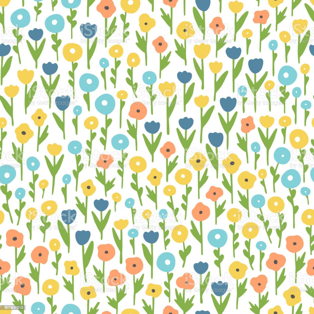Various wildflowers. Seamless vector pattern with abstract flowers. vector art illustration