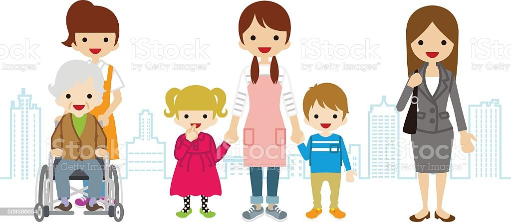 Various Women Child care,Worker,Caregiver,- Townscape Background vector art illustration