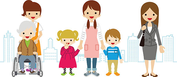 various women child care,worker,caregiver,- townscape background - babysitter stock illustrations, clip art, cartoons, & icons
