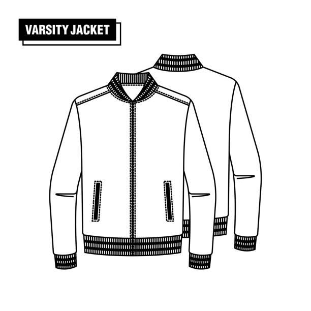 stockillustraties, clipart, cartoons en iconen met varsity jacket ontwerpen - men blazer