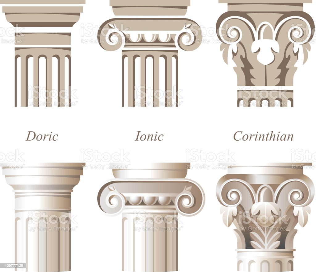 Varying styles of Roman columns in Italian architecture vector art illustration