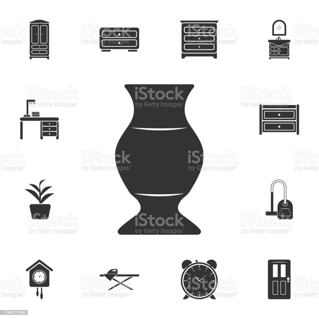 Icono de florero. Ilustración de elemento simple. Jarrón diseño de símbolo de sistema de la colección de muebles para el hogar. Puede ser utilizado para web y móvil - ilustración de arte vectorial