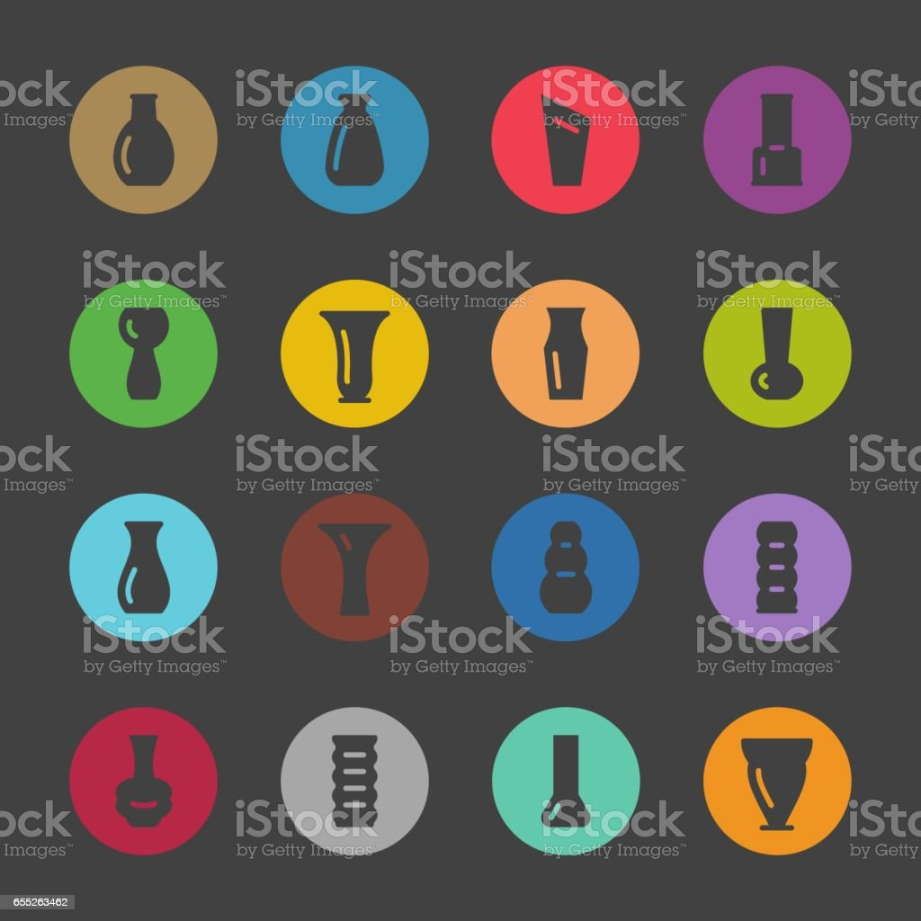 Vase Icons - Color Circle Series vector art illustration