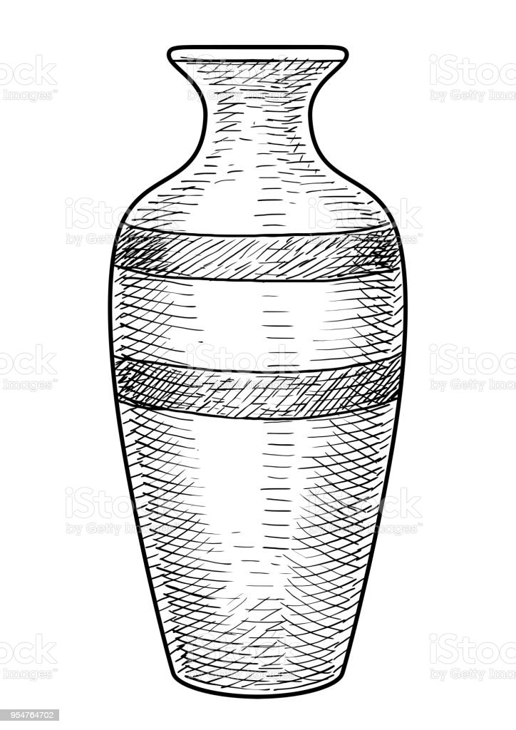 Vase Illustration Drawing Engraving Ink Line Art Vector Stock Vector