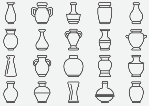 vase line icons - wyrób ceramiczny stock illustrations