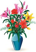A vector illustration of a vase of flowers with lilies, roses and tulips.