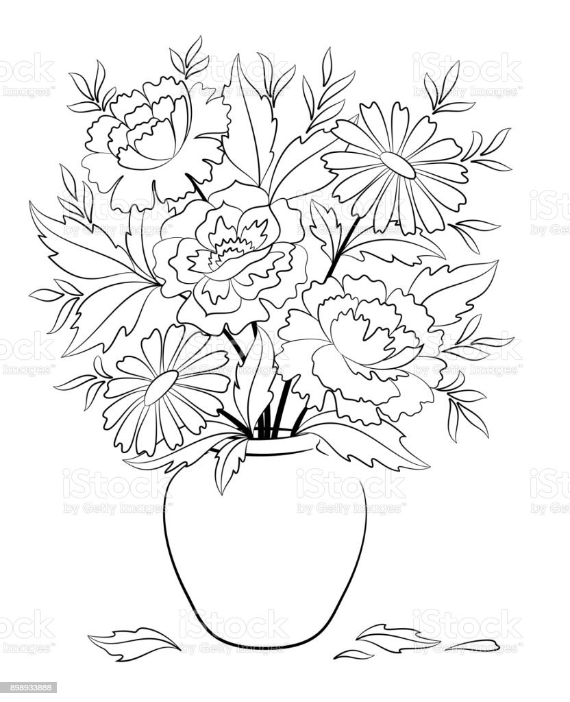 Vase With Flowers Contours Stock Vector Art More Images Of Black