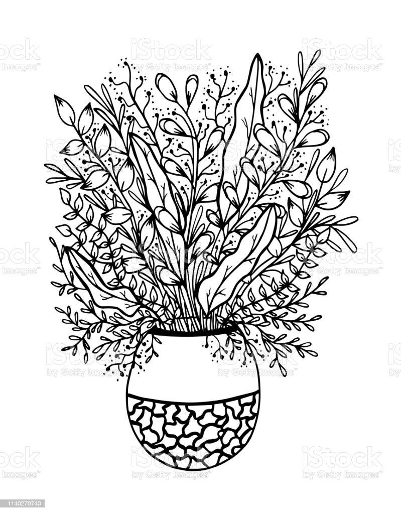 Vase Avec Des Fleurs Dessin à La Main Noir Sur Blanc