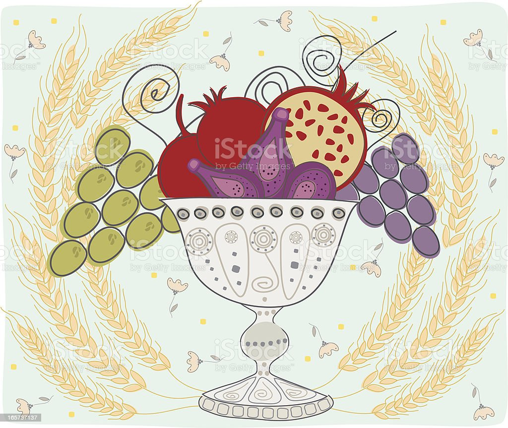 Vase With Fruit Framed By Ears Of Wheat, Shavuot Holiday royalty-free stock vector art