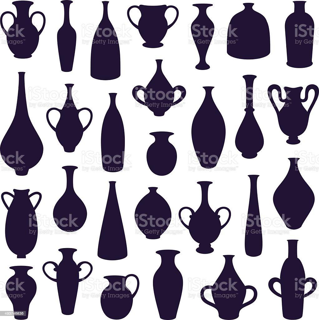 vases vector art illustration