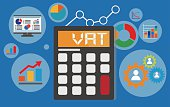 vat concept displayed on calculator with financial elements