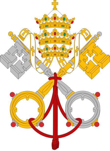 stockillustraties, clipart, cartoons en iconen met vatican flag - mijter
