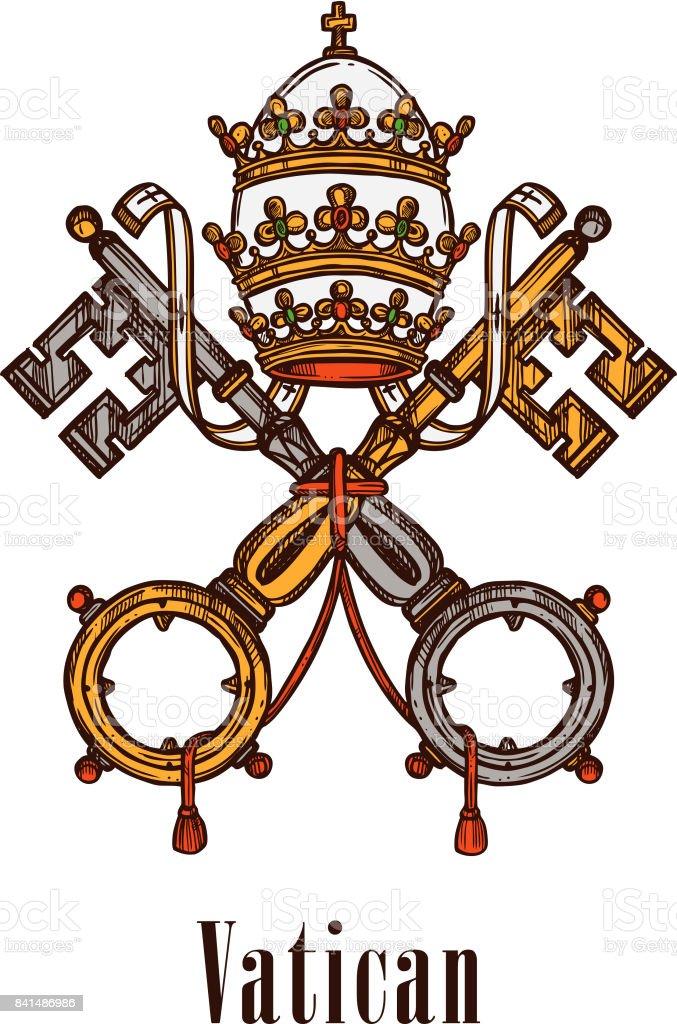 Vatican keys symbol coat of arms vector icon vector art illustration