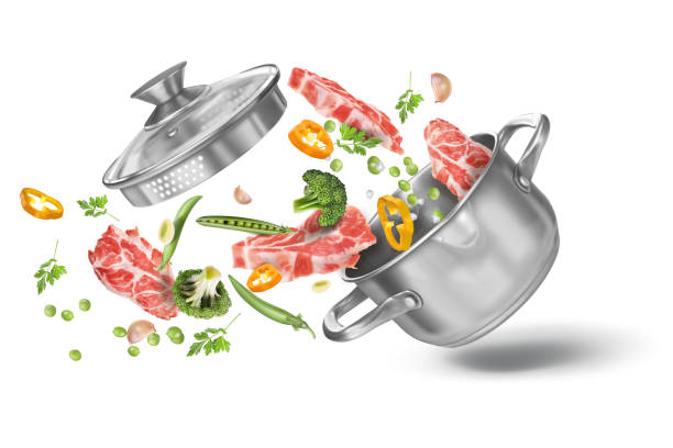 ilustrações de stock, clip art, desenhos animados e ícones de veal steaks with broccoli, paprika, green peas, parsley and spices in a stainless steel stock pot. with a lid. vector realistic illustration i - raw steak