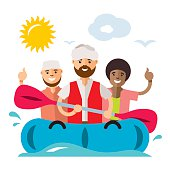 Vecctor Refugee migrants boat. Illegal migration. Flat style colorful Cartoon