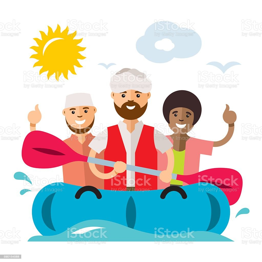 Vecctor Refugee migrants boat. Illegal migration. Flat style colorful Cartoon vector art illustration