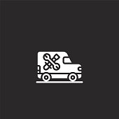 istock vechicle icon. Filled vechicle icon for website design and mobile, app development. vechicle icon from filled customer service collection isolated on black background. 1174312761