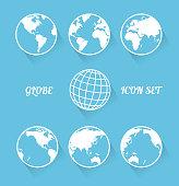 Vecrot globe icon set. Modern flat style