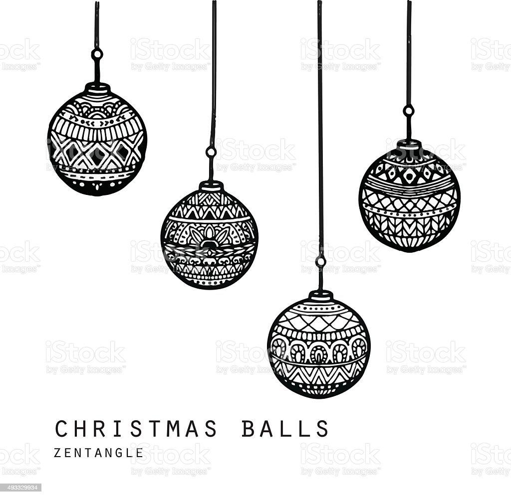 Vecter Of Hand Drawn Christmas Balls Royalty Free Stock