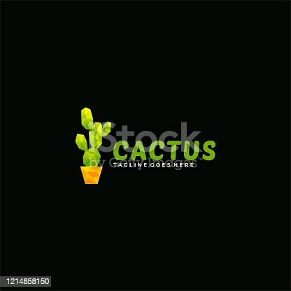 Vecto Illustration Cactus Poly Colorful Style.