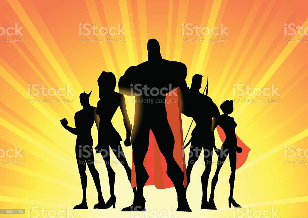 Vecto Superhero Team Up Silhouette vector art illustration