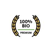 Vector 100 percent bio icon template. Line premium quality logo symbol with wheat ears wreath. Organic, farm food, raw, vegan, eco friendly label for local farmers market, healthy natural goods